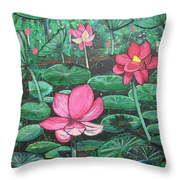 Lillies Throw Pillow
