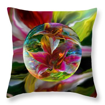 Throw Pillow featuring the painting Lillium Bulbiferum by Robin Moline