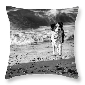 Lilly On The Beach Throw Pillow by Arlene Sundby