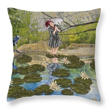 Throw Pillow featuring the digital art Lilly Pad Lane by Liane Wright
