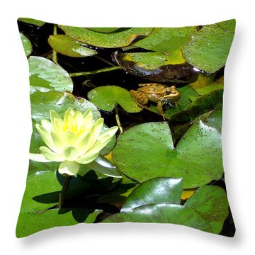 Lily And Amphibian Friend Throw Pillow