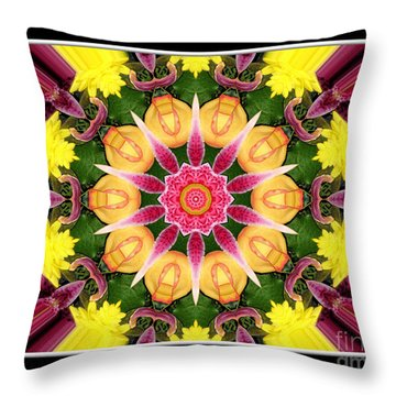 Throw Pillow featuring the photograph Lily And Chrysanthemums Flower Kaleidoscope by Rose Santuci-Sofranko