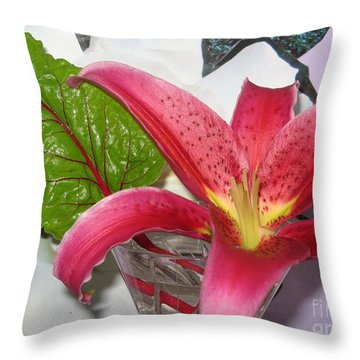 Lily And Leaf Throw Pillow by Marlene Rose Besso