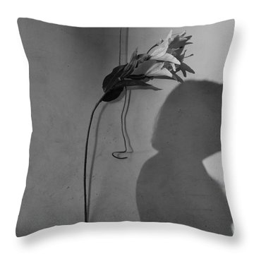 Lily And Male Figure Shadow Throw Pillow