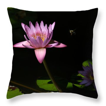 Lily And The Bee Throw Pillow by Yue Wang