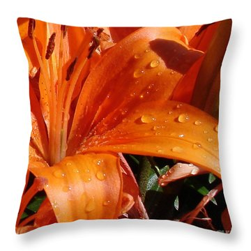 Throw Pillow featuring the photograph Lily Drops by Kerri Mortenson