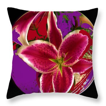 Lily In A Globe Throw Pillow
