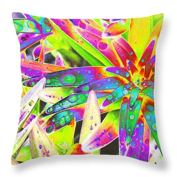 Lily Leaves Raindrops Throw Pillow by Carol Lynch