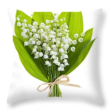 Lily-of-the-valley Bouquet Throw Pillow by Elena Elisseeva