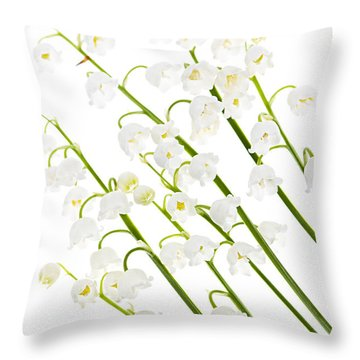 Lily-of-the-valley Flowers Throw Pillow by Elena Elisseeva
