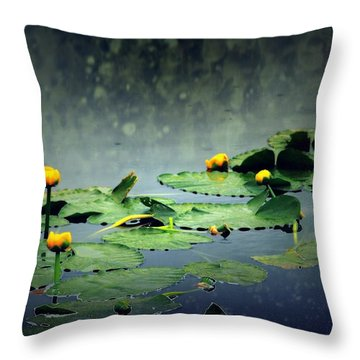 Lily Pads In The Rain At Vernonia Lake Throw Pillow by Dawna Morton