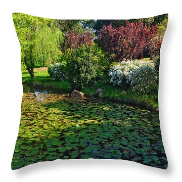 Lily Pond And Colorful Gardens Throw Pillow by Kaye Menner