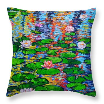 Lily Pond Colorful Reflections Throw Pillow