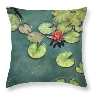 Lily Pond Throw Pillow by David Stribbling