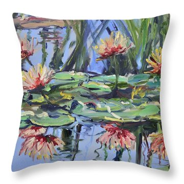 Lily Pond Reflections Throw Pillow by Donna Tuten