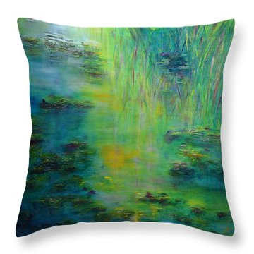 Lily Pond Tribute To Monet Throw Pillow by Claire Bull