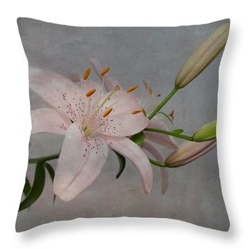 Pink Lily With Texture Throw Pillow