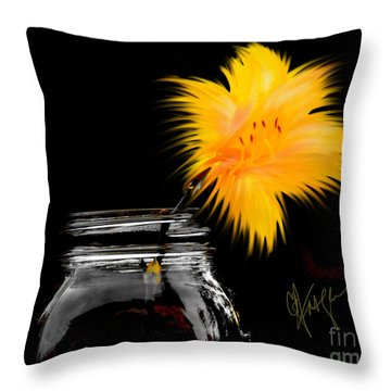 Lily Yellow Throw Pillow