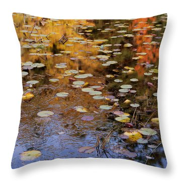 Lilypads And Reflection Throw Pillow