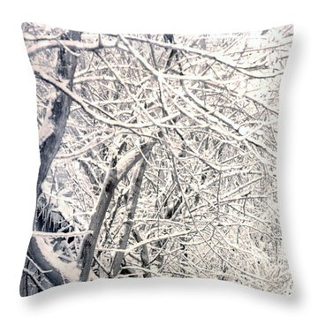 Limbs Covered With Snow Throw Pillow