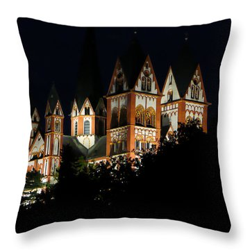 Limburg Cathedral At Night Throw Pillow by Jenny Setchell