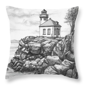 Lime Kiln Lighthouse Throw Pillow