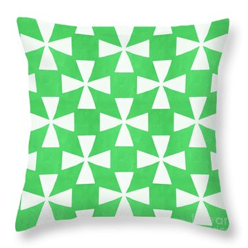Lime Twirl Throw Pillow by Linda Woods