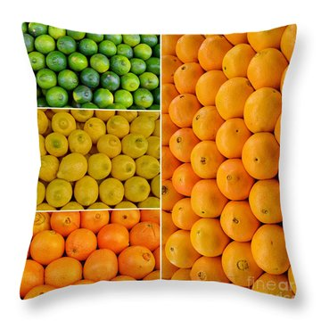 Limes Lemons Oranges Throw Pillow by Sabine Jacobs