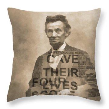 Lincoln Gettysburg Address Typography Throw Pillow