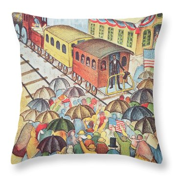 Lincoln Leaving Springfield, Illinois By Train Pastel On Paper Throw Pillow