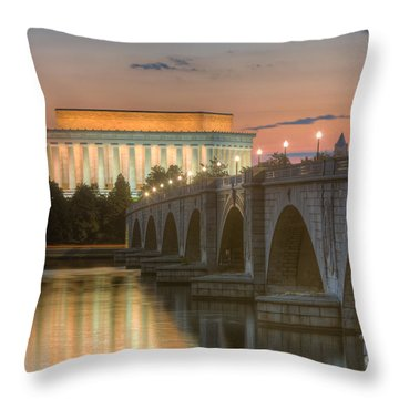 Lincoln Memorial And Arlington Memorial Bridge At Dawn I Throw Pillow