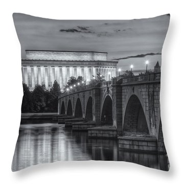 Lincoln Memorial And Arlington Memorial Bridge At Dawn II Throw Pillow by Clarence Holmes
