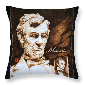 Lincoln Memorial And The Younger Throw Pillow by Cynthia Adams
