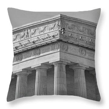 Lincoln Memorial Columns Bw Throw Pillow by Susan Candelario