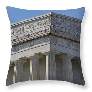 Lincoln Memorial Columns  Throw Pillow by Susan Candelario