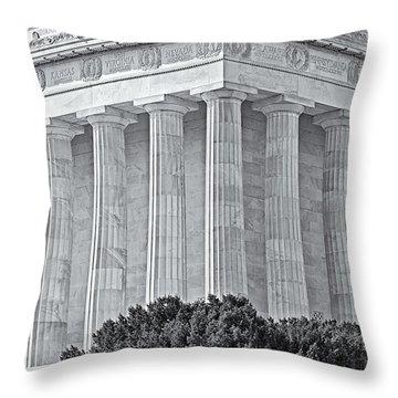 Lincoln Memorial Pillars Bw Throw Pillow by Susan Candelario