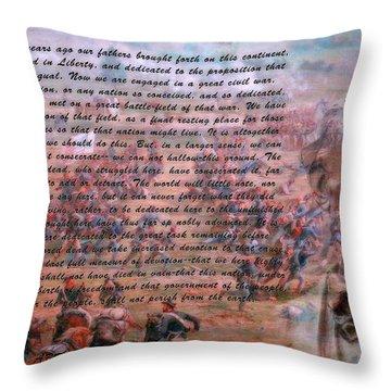 Lincoln's Gettysburg Address Throw Pillow