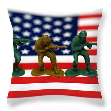Line Of Toy Soldiers On American Flag Shallow Depth Of Field Throw Pillow by Amy Cicconi