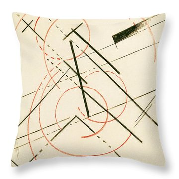 Linear Composition Throw Pillow by Lyubov Sergeevna Popova