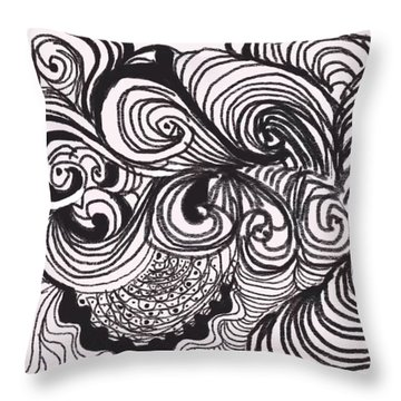 Throw Pillow featuring the digital art Linear Zen by Diana Riukas