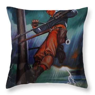Lineman In Storm Throw Pillow