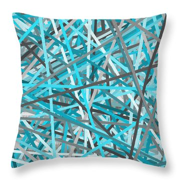 Link - Turquoise And Gray Abstract Throw Pillow