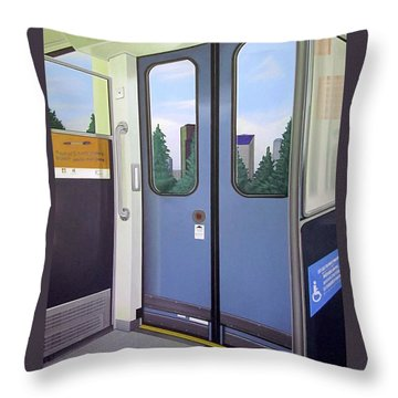 Throw Pillow featuring the painting Link Light Rail Seattle by Jude Labuszewski