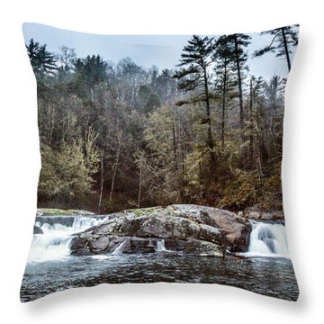 Linville Upper Falls Throw Pillow