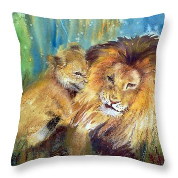 Lion And Cub -2 Throw Pillow