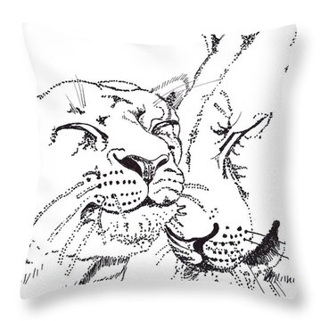 Lion And Cub Throw Pillow by John Keaton