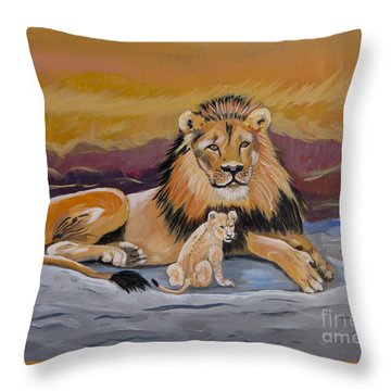 Throw Pillow featuring the painting Lion And Cub by Phyllis Kaltenbach