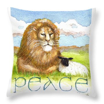 Lion And Lamb - Peace  Throw Pillow