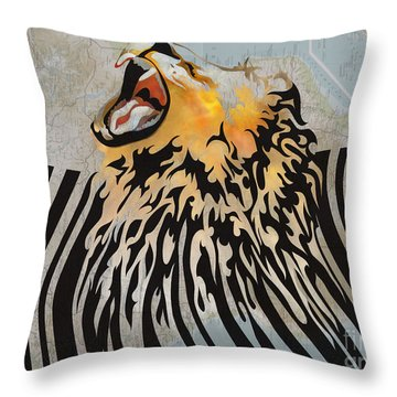 Lion Barcode Throw Pillow