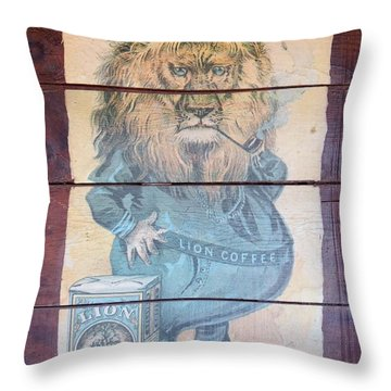 Lion Coffee Throw Pillow by Susan Ince